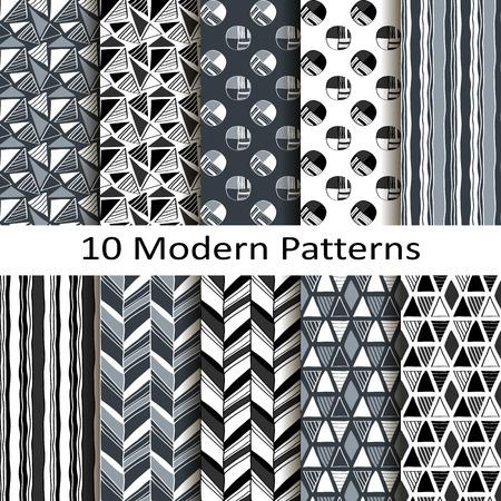 Set of ten modern patterns Vector