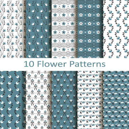 jacquard: Set of ten flower patterns