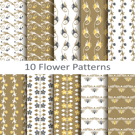 interior design: Set of ten flower patterns