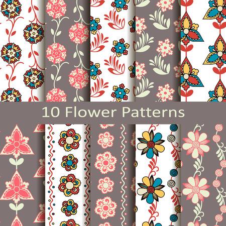 flower patterns: set van tien bloemmotieven