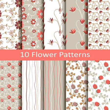 Set of ten flower patterns Vector