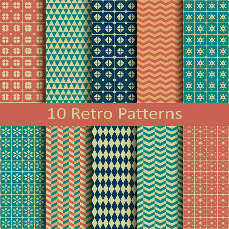 Set of ten retro patterns Vector