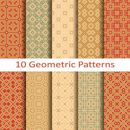 Set van tien geometrische patronen