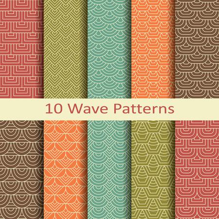 Set of ten wave patterns Vector