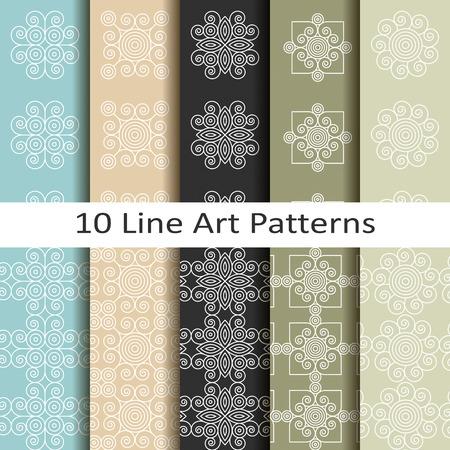 set of ten line art patterns