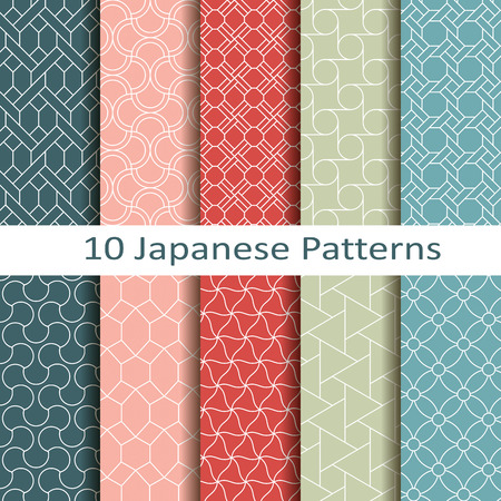 japanese background: set of ten japanese patterns