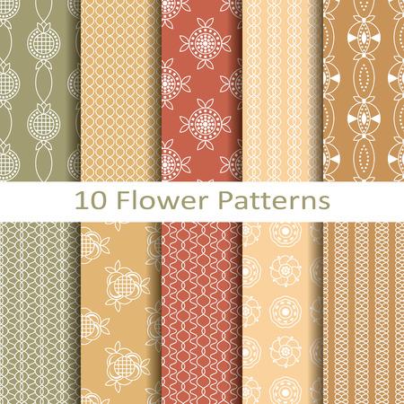 Set of ten flower patterns Stock fotó - 39370736