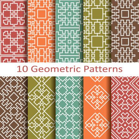 Set of ten geometric patterns Vector