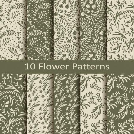 flower patterns: set of ten flower patterns