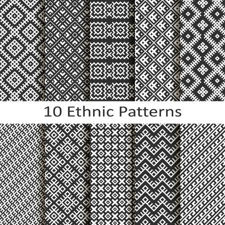 Set of ten ethnic patterns Vector