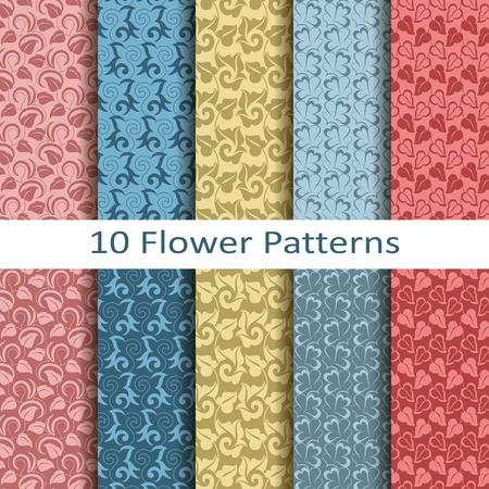 Set of ten flower patterns Vector