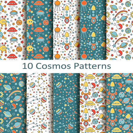 cosmos: set of ten cosmos patterns Illustration