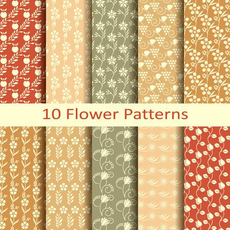 patrones de flores: Conjunto de diez dibujos de flores Vectores
