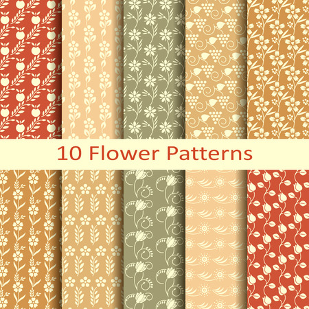flower patterns: Set van tien bloemmotieven Stock Illustratie