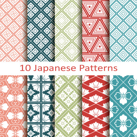 set van tien japanse patronen Stock Illustratie