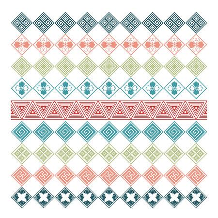 decorative elements: set of nine japanese ornament decorative elements
