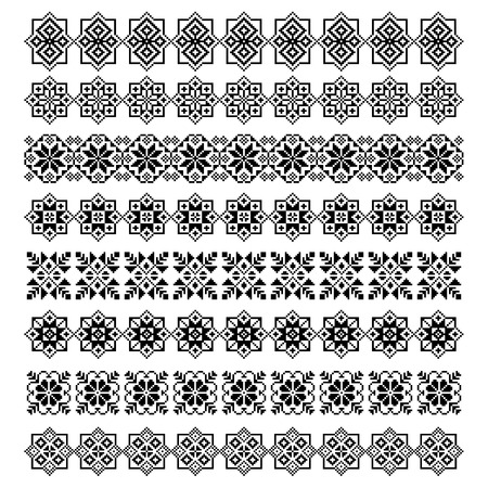 jacquard: set of eight decorative ornamental elements design