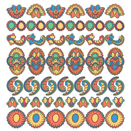 set of seven decorative floral elements design