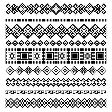 jacquard: set of nine decorative ethnic elements design