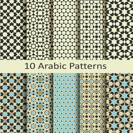 Set of ten arabic patterns  イラスト・ベクター素材