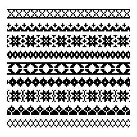 jacquard: set of nine ethnic decorative elements design Illustration