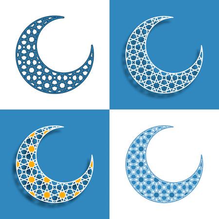 figuras abstractas: conjunto de cuatro medias lunas azules Vectores