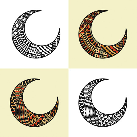 moon: set of four arabic half moons Illustration