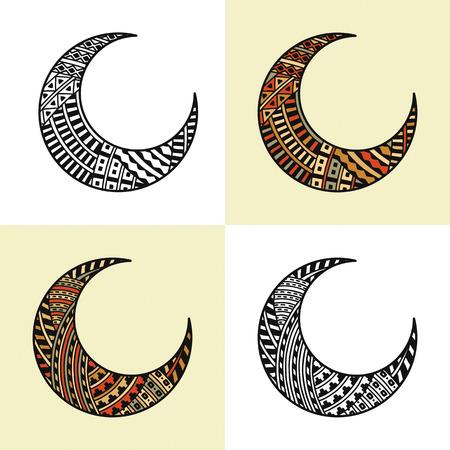 un ensemble de quatre demi-lunes arabes Vecteurs