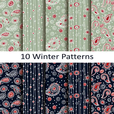 set of ten winter patterns