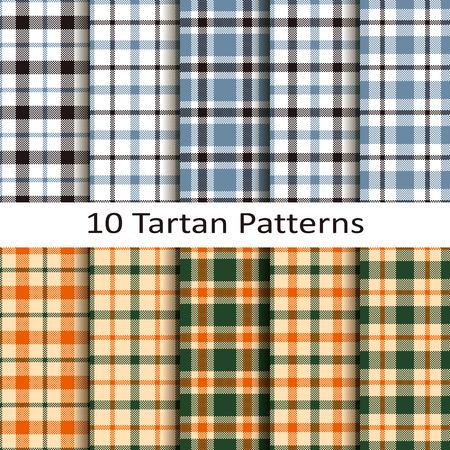 set of ten tartan patterns Illustration