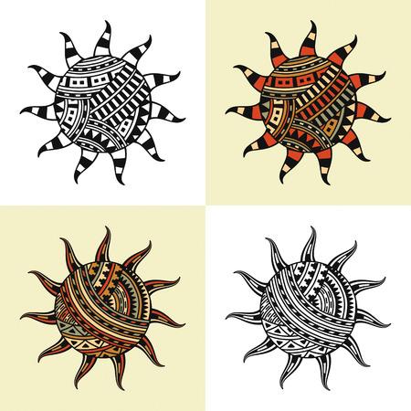 suns: set of four suns with ethnic decoration Illustration
