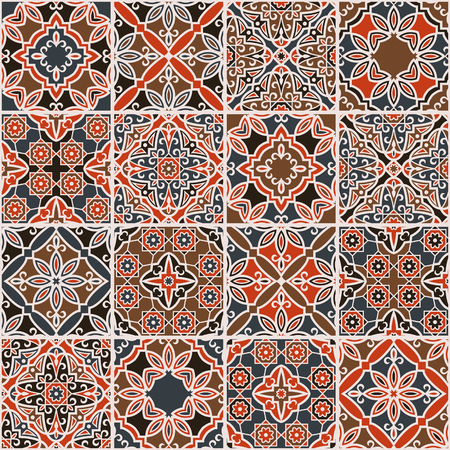 traditional pattern: arabic patchwork made of sixteen pieces Illustration