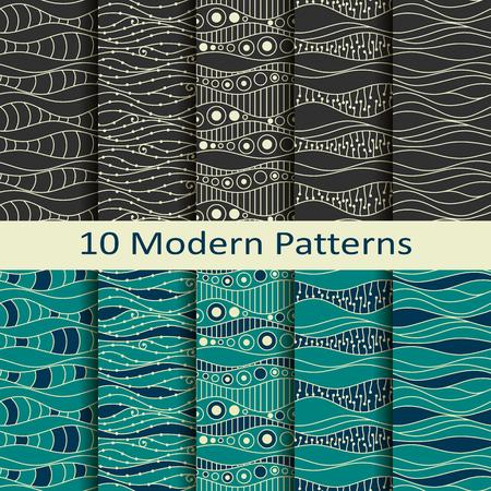 set of ten modern patterns Illustration