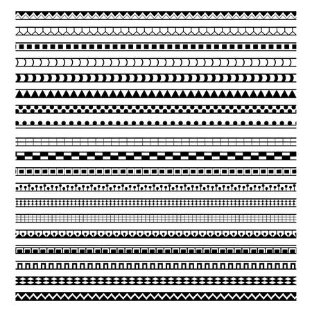 vector set of twenty geometric ethnic brushes
