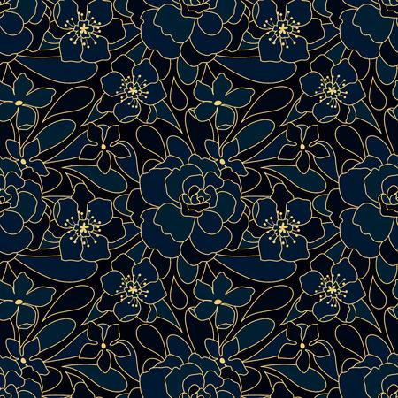 dark blue: neon floral blue vector pattern