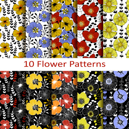 figural: Set of ten flower patterns