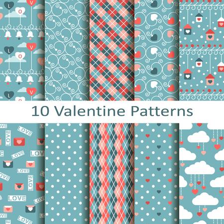 figural: set of ten valentine patterns