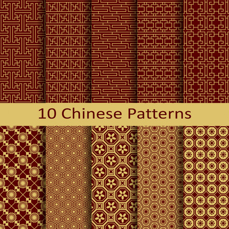set of ten chinese patterns