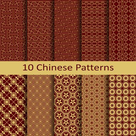 Un conjunto de diez patrones chinos Foto de archivo - 49855640