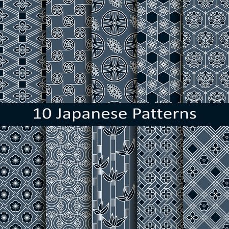japanese: set of ten japanese patterns