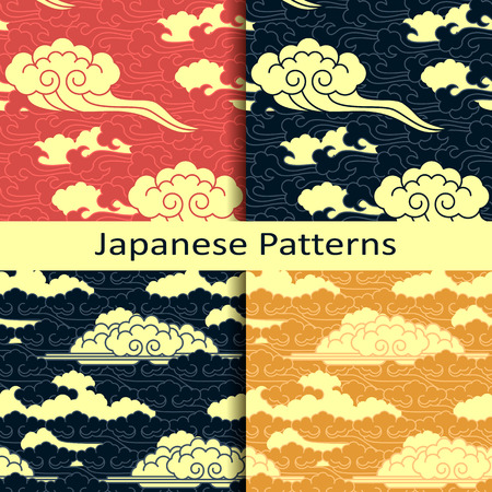 Set of four japanese traditional cloudy patterns Illustration