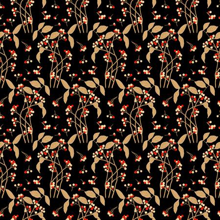 floral objects: seamless vector flower dark pattern Illustration