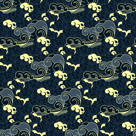 seamless vector japanese wave pattern Illustration
