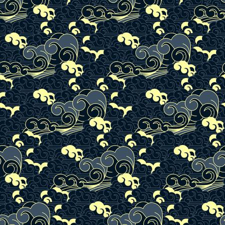 seamless vector japanese wave pattern Illusztráció