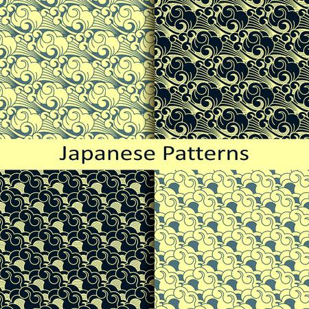 set of four japanese patterns Stock fotó - 52479980