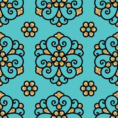 figural: seamless vector blue golden vintage pattern
