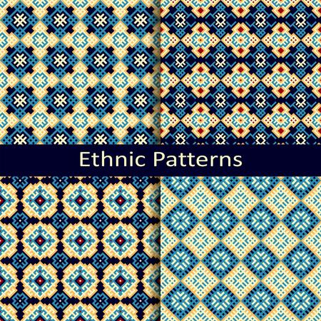 figural: set of four seamless vector ethnic patterns Illustration