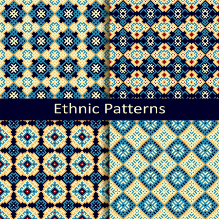 set of four seamless vector ethnic patterns Illustration