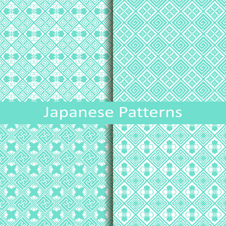 patterns japan: set of four blue traditional japanese patterns Illustration