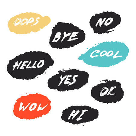 phrases: set with nine  grunge greeting emotial phrases in speech bubbles